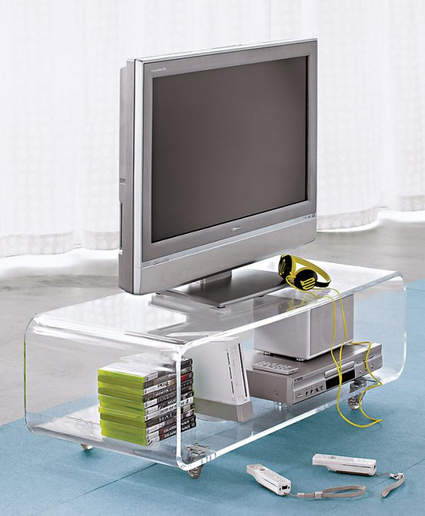 An acrylic media console