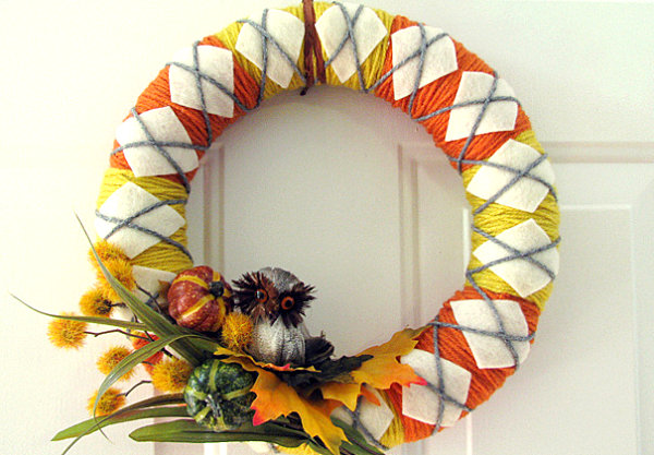 An argyle Fall wreath
