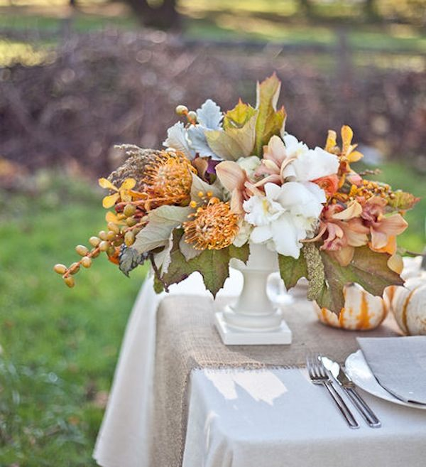 An autumn tabletop floral arrangement
