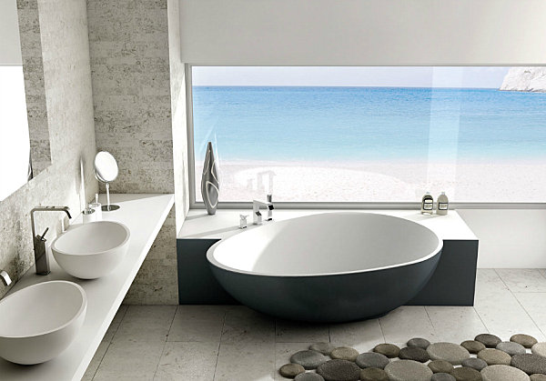 An egg-shaped modern tub