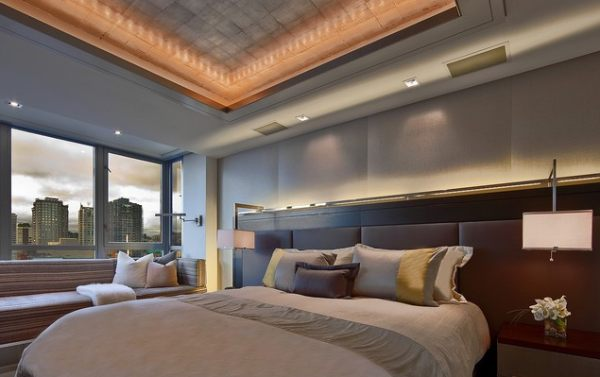 view in gallery an elegant bedroom with contemporary lighting - Bedroom Lighting