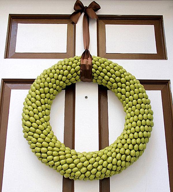 An olive green acorn wreath