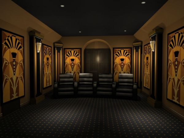 view in gallery art deco styled home theater 35 modern media room designs that will blow you away - Home Media Room Designs