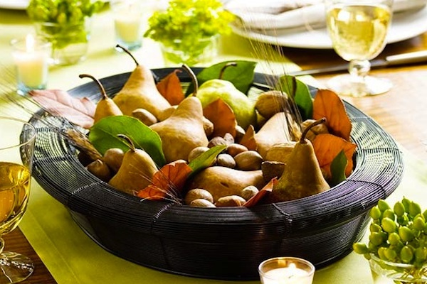 Autumn tablescape with pears, apples and leaves
