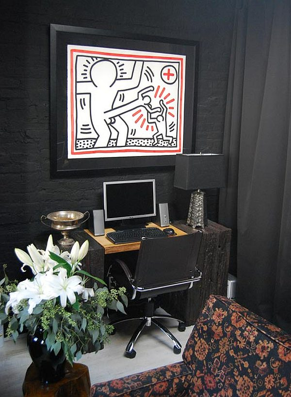 Black Apartment Redecoration - home office