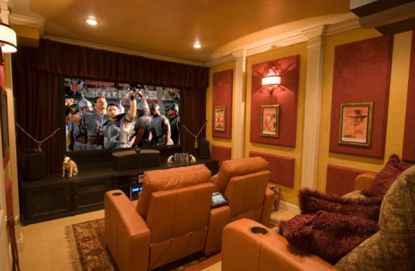 Home Theater In Brown Showcases Simple Luxury Contemporary Home