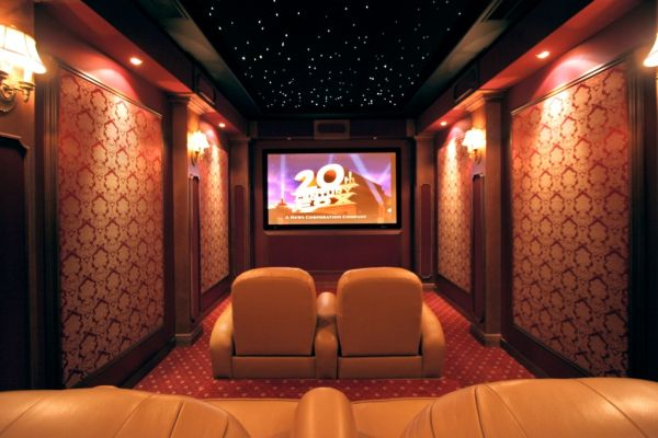 Contemporary Home Theater with Starry Ceiling