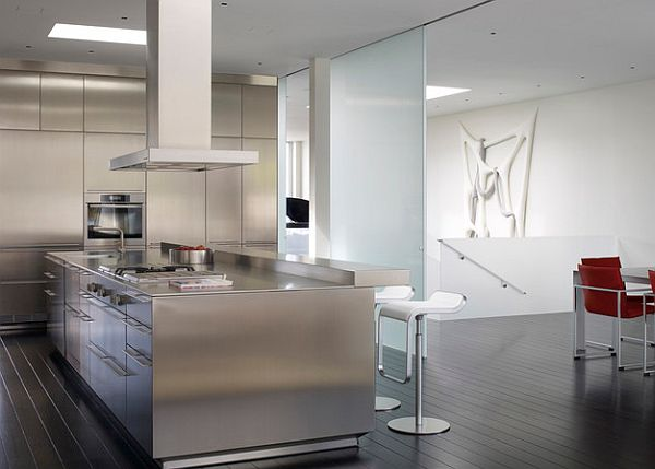 Contemporary-kitchen-with-stainless-steel-cabinets-and-furniture