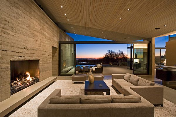 View In Gallery Contemporary Living Room With Rammed Earth Texture Wall Part 45