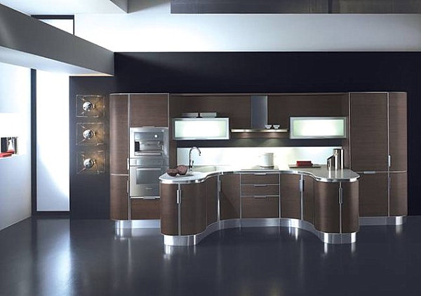 Curved modern kitchen cabinets decoist - Modern kitchen ideas with brown kitchen cabinets ...