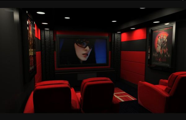 Fashionable Media Room Interiors in bright red and black