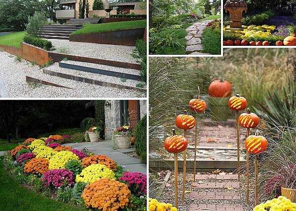 Garden pathway ideas for fall for Pictures of fall decorations for the yard