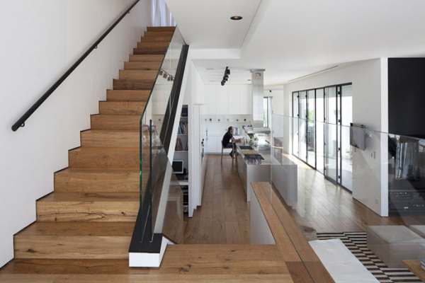 Glass Private House – wooden staircase