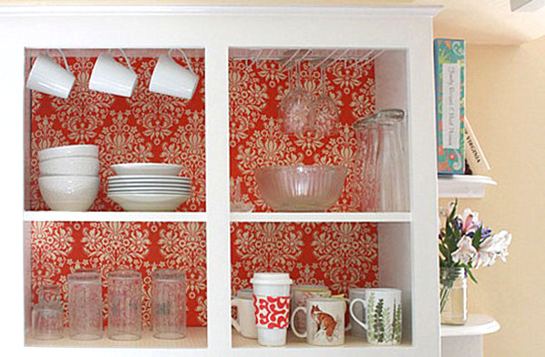 Kitchen-cabinets-with-a-fabric-interior