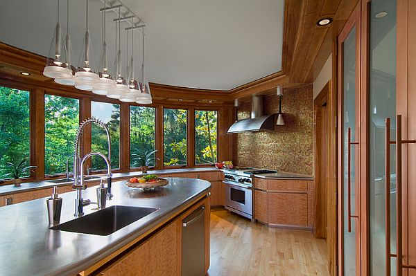 Large kitchen design with stainless countertop