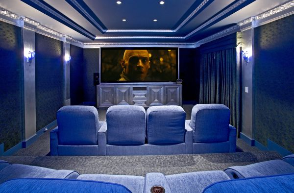 lavish media room clad completely in cool blue by dsi entertainment - Cool Media Room Ideas