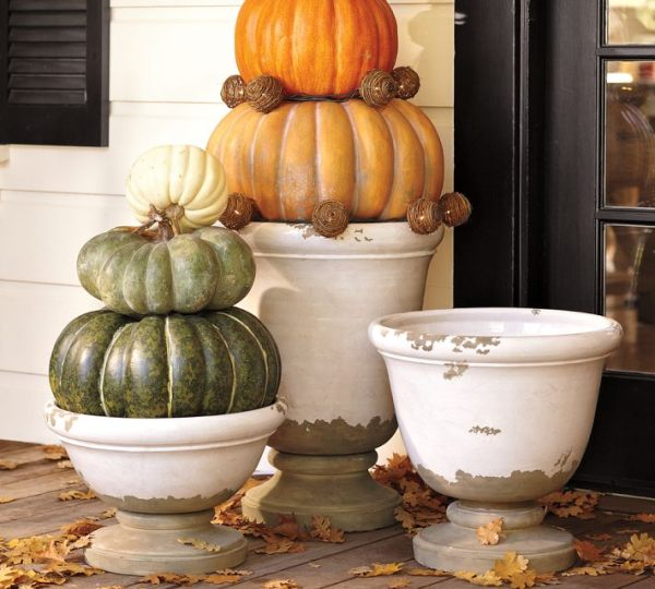 Line your garden path with urns of pumpkins