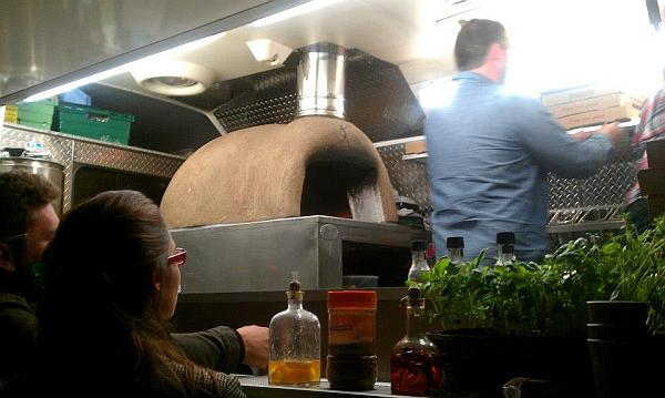 Little Nicky's Pizza van - wood oven and fresh basil