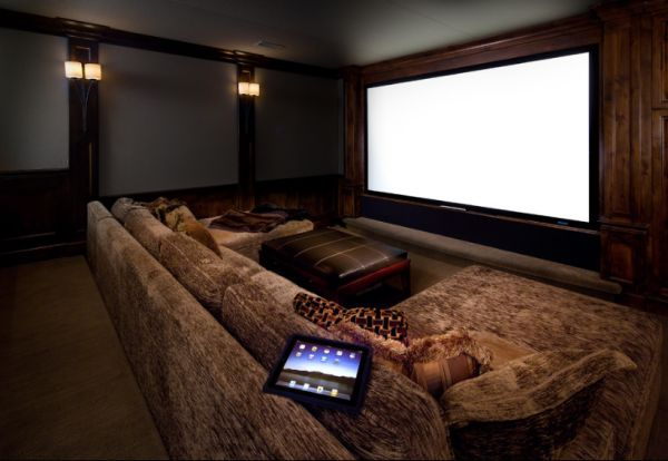 media room with theater ambiance view in gallery - Media Room Design Ideas
