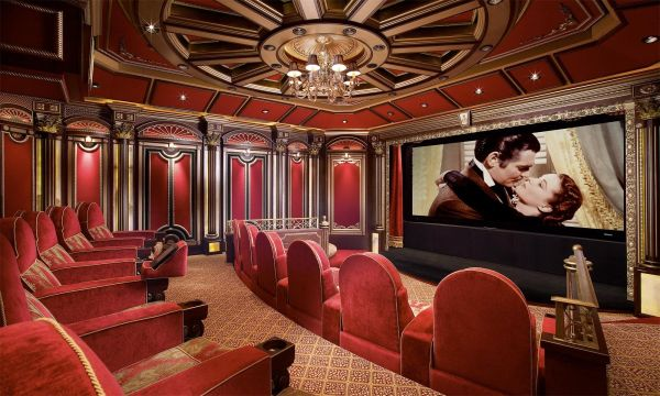 Magnificent Home Theater with Grand Architectural Interiors