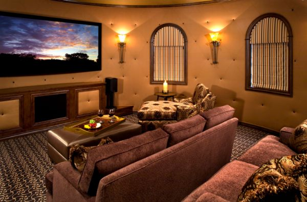Mediterranean Theater Room with Unique Round Walls