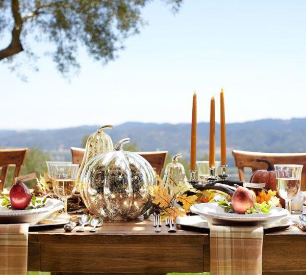 Mercury glass pumpkins add shine to a seasonal table