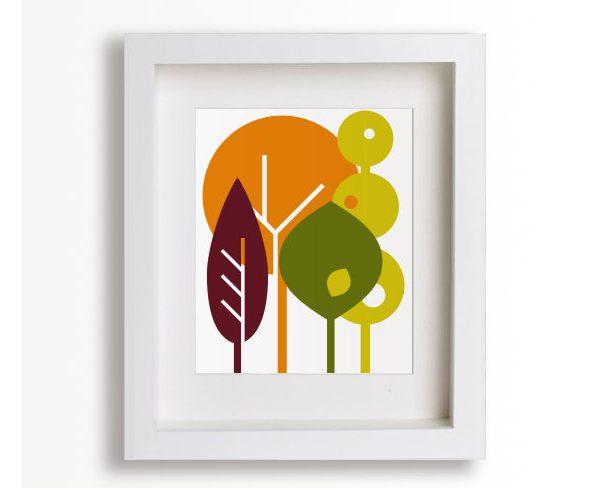 Modern artwork in fall colors