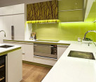 Modern cabinets with strategic lighting