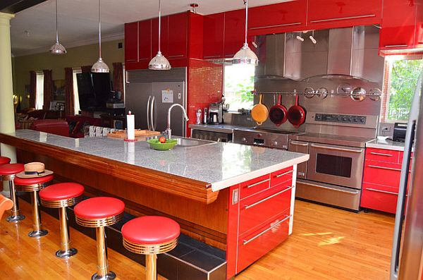 Modern kitchen with red cabinets decoist for Contemporary kitchen decorative accessories