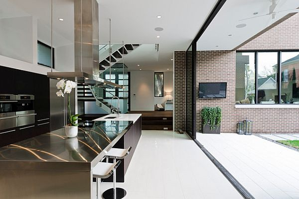 Modern kitchen with stainless steel counter