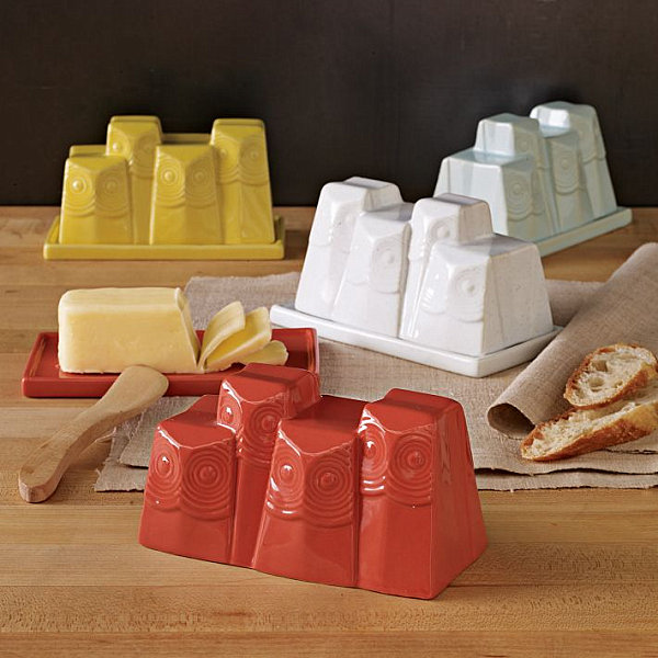 Modern owl butter dishes