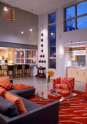 Modern red and orange furniture