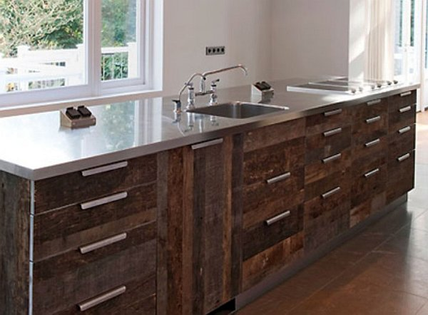 Kitchen Design With Recycled Cabinet Doors Pallet Wood Kitchen