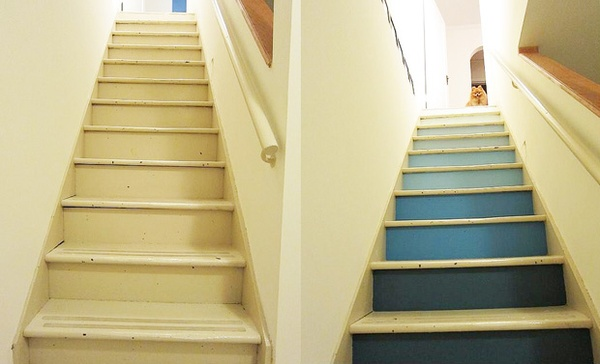 Ombre stairs blue