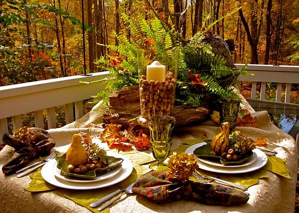 Outdoor ferns and woods table Using Fall Leaves in Home Décor