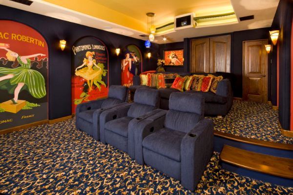 Retro Media Room with Movie Memorabilia