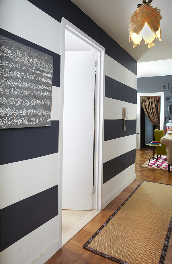 How to design a small rental apartment by janet lee - Black and white striped wall ...