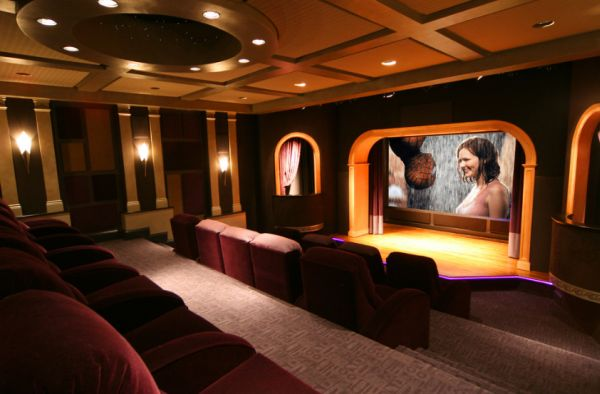 Spcaious Media Room with classic Theater Stage