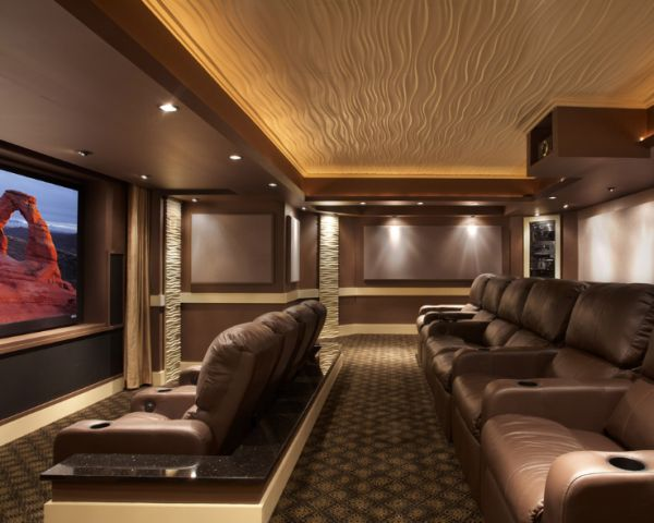 Splendid Home Theater design with Modular Art ceiling and walls