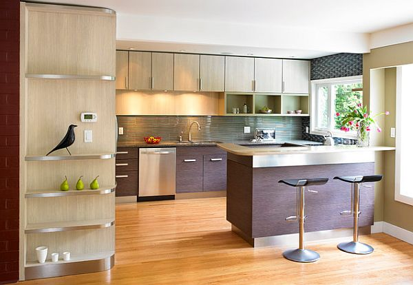 Stainless steel counters in modern kitchen design