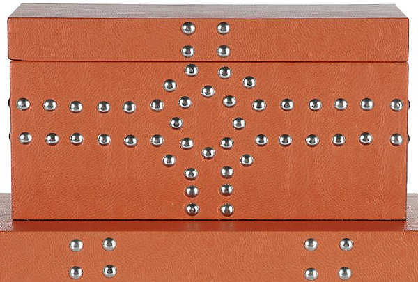 Storage boxes with metal detail