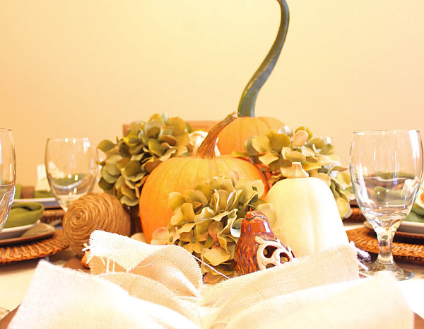 Table setting with pumpkins and autumn inspiration