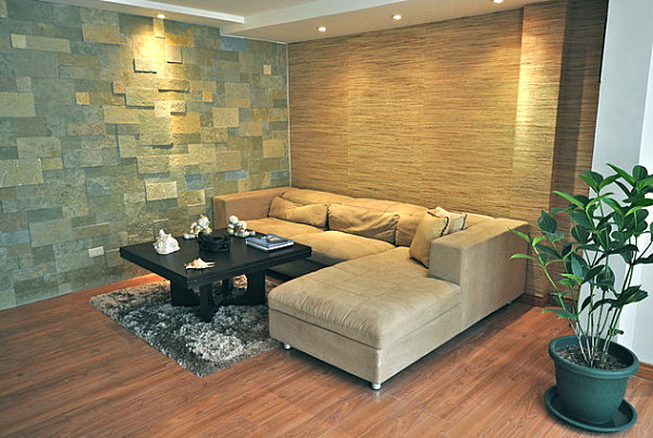 Textured walls in a contemporary living room decoist Wall texture designs for living room