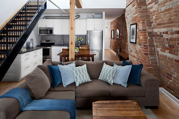 Two storey penthouse loft toronto Toronto Penthouse Loft Gets a Contemporary Makeover in White & Blue