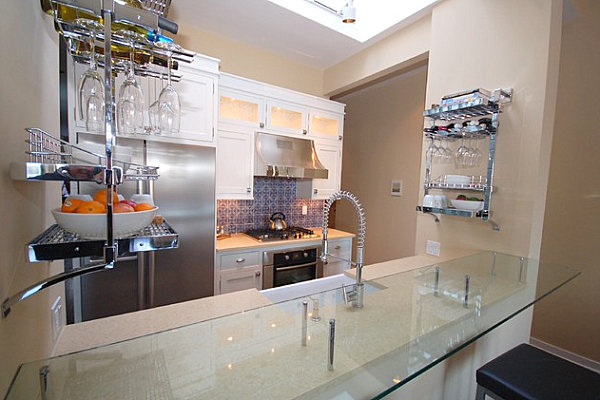 Wall-mounted storage in a modern kitchen