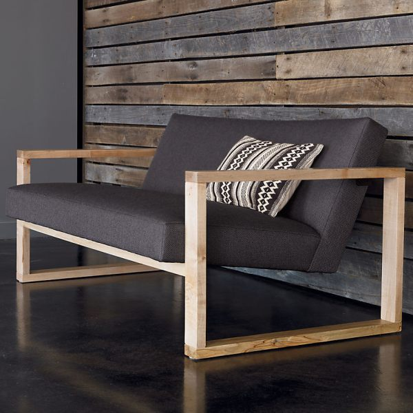 a slate gray loveseat