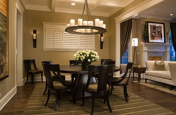 all black round dining table and chairs