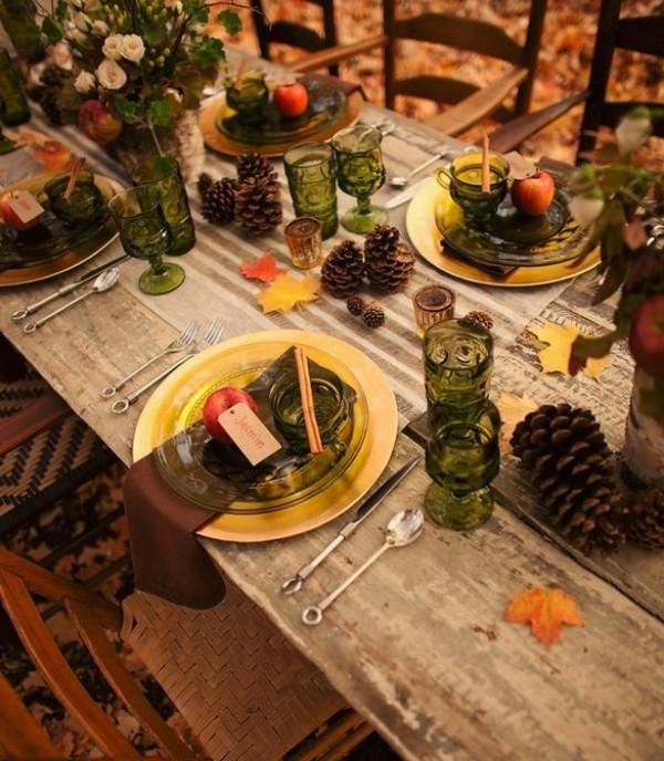autumn decor outdoor table