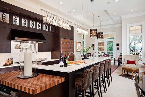 bar like kitchen with rattan stools