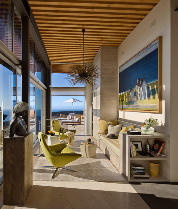 Pristine interiors and great ocean views for the for California beach house interior design